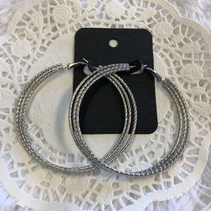 Big Silver Hoop Earrings
